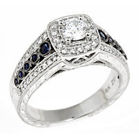 0.70 CT. T.W. Regal Hearts and Arrows Round-cut Diamond & Sapphire Ring in 14K White Gold (I, SI2) - Size 7