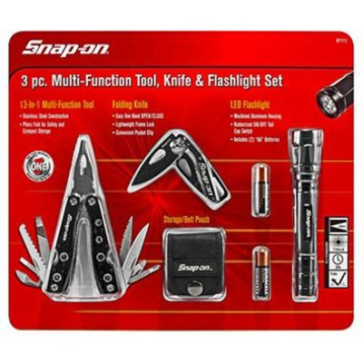 Snap-on Multi-Function Tool, Knife and Flashlight, Black, 3-Piece Set