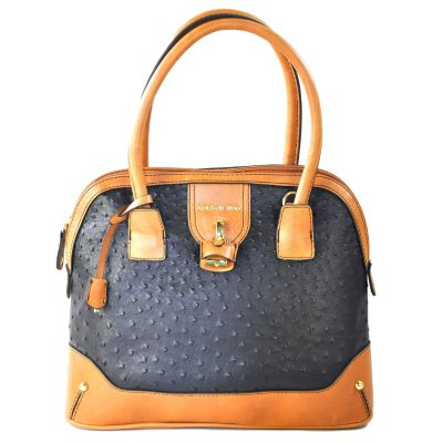 London Fog Dome Satchel - Black Ostrich.  Ends: May 30, 2015 3:30:00 PM CDT
