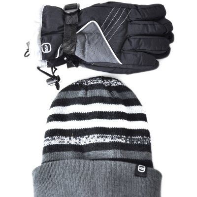 Free Country Kid Ski Glove & Hat, Black/Grey.  Ends: May 25, 2015 12:50:00 AM CDT