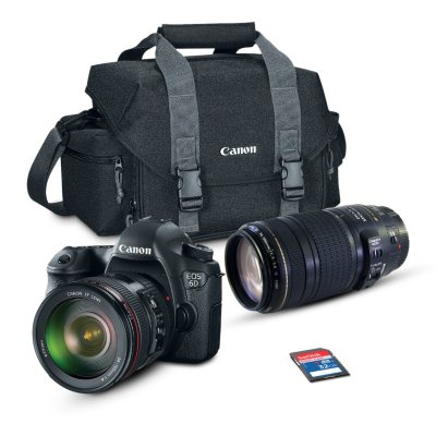 Canon EOS 6D 20.2MP Digital SLR Camera Bundle with EF24-105mm IS and 70-300mm Lens, 32GB SD Card, and EOS 300DG DSLR Gadget Bag.  Ends: Apr 25, 2015 7:00:00 AM CDT