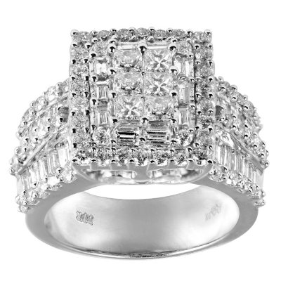 3.0 CT. T.W. Princess, Round and Baguette Diamond Ring in 14K White Gold (I, I1).  Ends: Feb 26, 2015 8:00:00 PM CST