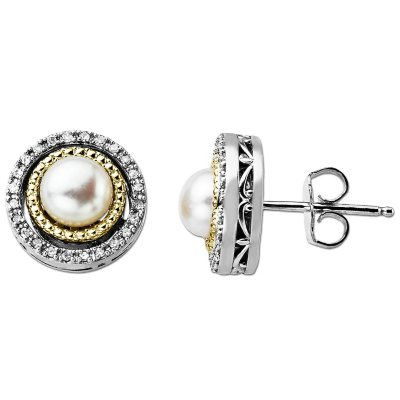 Freshwater Pearl and Diamond Accent Birthstone Earrings in Sterling Silver and 14K Yellow Gold