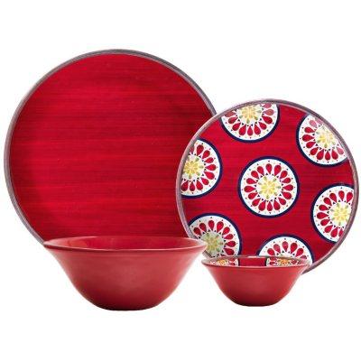Melamine Dinnerware 16-Piece Set, Red