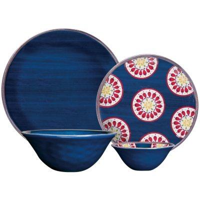 Melamine Dinnerware 16-Piece Set, Blue