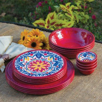 16-Piece Melamine Dinnerware Set, Red.  Ends: Sep 3, 2015 2:35:00 PM CDT