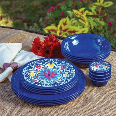 16-Piece Melamine Dinnerware Set, Blue.  Ends: Jul 6, 2015 7:40:00 PM CDT