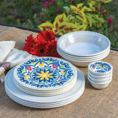 16-Piece Melamine Dinnerware Set, White.  Ends: Aug 29, 2015 10:00:00 AM CDT