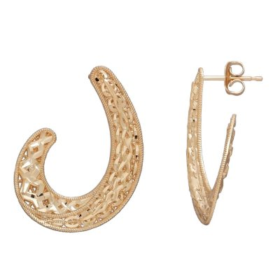 14K Yellow Gold Swirl Shell C Hoop Earrings