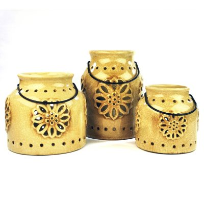 3 Indoor/Outdoor Stoneware Vintage Lanterns with Flameless Candles, Blue.  Ends: Aug 29, 2014 12:30:00 AM CDT