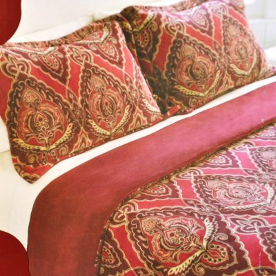 Flannel 3 Pc. Comforter Set, Red Paisley (King).  Ends: Aug 22, 2014 12:50:00 PM CDT