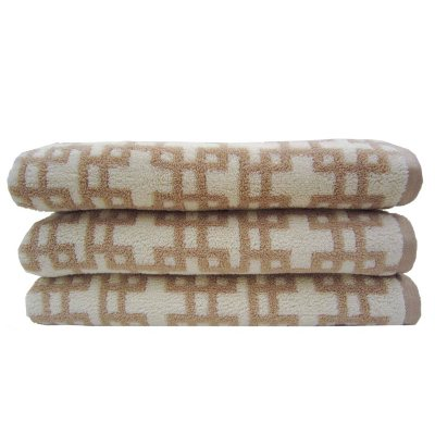 "Loft Fashion Bath Towel, Tan Geo Links (30"" x 58"") - One Towel.  Ends: Aug 29, 2014 7:15:00 AM CDT"