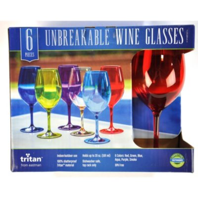 Embassy Row Tritan Wine Glasses, Color 6 PC