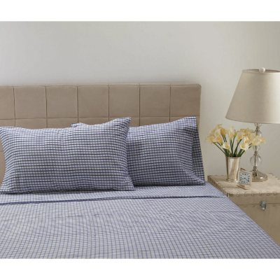 300 Thread Count Printed Sheet Set, Blue Plaid (Queen).  Ends: Oct 21, 2014 11:55:00 PM CDT
