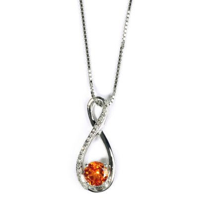 "Citrine and .08 ct. t.w. Diamond Pendant in .925 Sterling Silver w/ 18"" Box Chain"