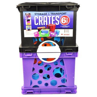 Storex Storage Crates, Black/Purple/Green (6-Pack Combo).  Ends: Nov 1, 2014 8:55:00 AM CDT