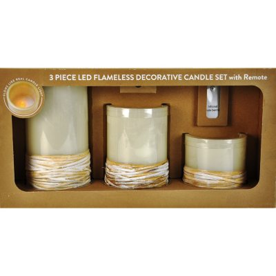 3-Piece LED Flameless Decorative Candle Set with Remote, Rattan.  Ends: Aug 1, 2015 12:00:00 PM CDT