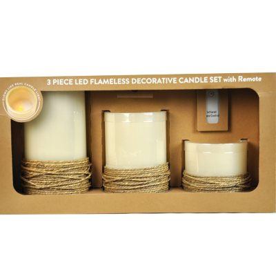 3-Piece LED Flameless Decorative Candle Set with Remote, Rope.  Ends: May 29, 2015 6:00:00 AM CDT