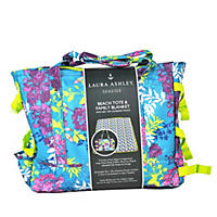 Laura Ashley Tote & Family Blanket, Tropical Lilac