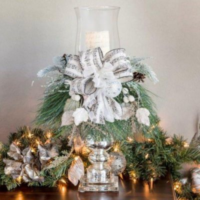 Holiday Candlestick Centerpiece, Winter Lux White.  Ends: Jan 29, 2015 9:10:00 PM CST