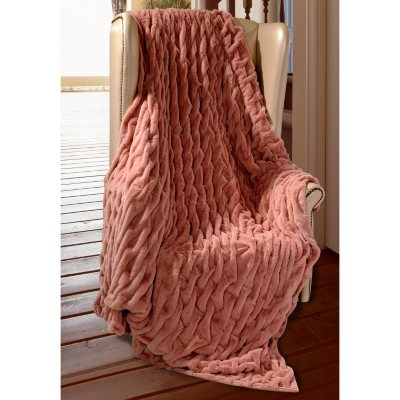 "Ruched Throw, Dusty Rose (60"" x 70"").  Ends: Apr 20, 2015 12:15:00 AM CDT"