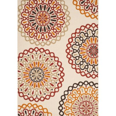 """Safavieh Carefree Collection Outdoor Rug, Red & Cream (6' 9"""" x 9').  Ends: May 5, 2016 7:21:09 AM CDT"""
