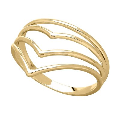 """14K Yellow Gold Layered """"V"""" Ring, Size 8.  Ends: Apr 29, 2016 7:45:00 PM CDT"""