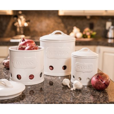 3-Piece Kitchen Canisters, White.  Ends: Feb 9, 2016 2:00:00 AM CST