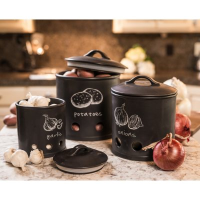 3-Piece Kitchen Canisters, Black.  Ends: Feb 9, 2016 2:00:00 AM CST