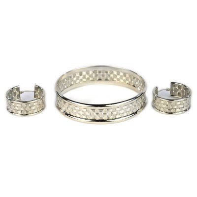 Basket Weave Bangle and Hoop Earring Set in Sterling Silver.  Ends: Mar 6, 2015 10:00:00 PM CST