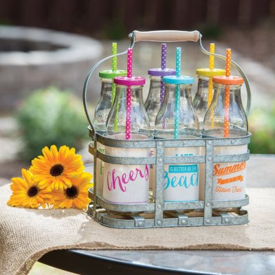Glass Milk Bottle Drinkware Set with Galvanized Caddy.  Ends: Nov 29, 2015 1:00:00 AM CST