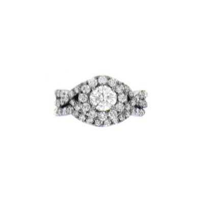 2.0 ct. t.w. Halo Diamond Engagement Ring with Intertwined Shank, 14K White Gold (H1, I1).  Ends: Aug 23, 2014 8:30:00 PM CDT