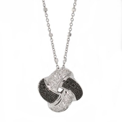 0.25 CT. T.W. Black & White Diamond Pendant in Sterling Silver (H-I & Black, I1).  Ends: Oct 21, 2014 10:20:00 PM CDT