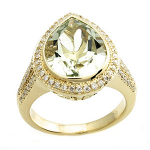 Prasiolite and Diamond Ring