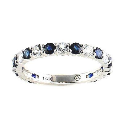 Blue & White Sapphire Ring in 14K White Gold.  Ends: Aug 30, 2015 8:30:00 AM CDT
