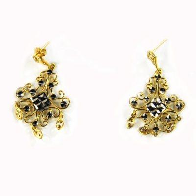 Diamond Cut Chandelier Earings, 14K Yellow & White Gold