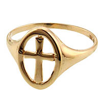 14K Yellow Gold Polished Cross Ring