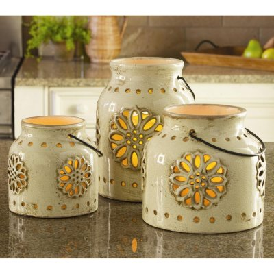 3 Indoor/Outdoor Stoneware Vintage Lanterns with Flameless Candles