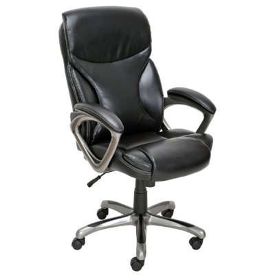 True Innovations Bonded Leather Manager Chair, Black.  Ends: Aug 29, 2014 12:30:00 AM CDT