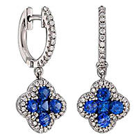 Blue Sapphires and .36 ct. t.w. Diamond Earrings in 14K White Gold