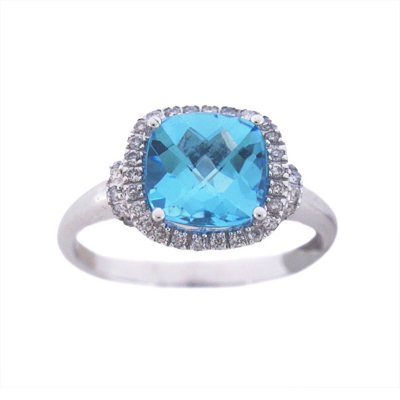 Blue Topaz & .18 CT. TW. Diamond Ring in 14K White Gold.  Ends: Aug 30, 2015 10:20:00 AM CDT
