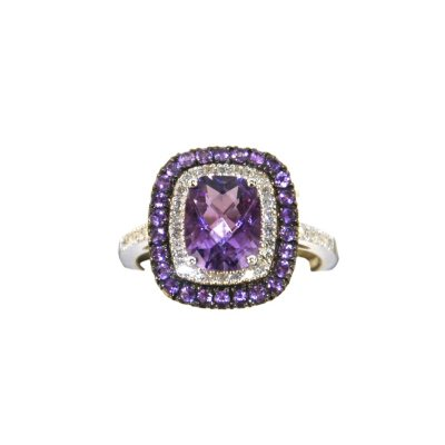 Amethyst & .17 CT. TW. Diamond Ring in .925 Sterling Silver.  Ends: Aug 30, 2015 9:45:00 PM CDT