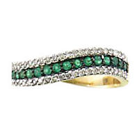 Emerald and .22 ct. t.w. Diamond Ring in 14K Yellow Gold