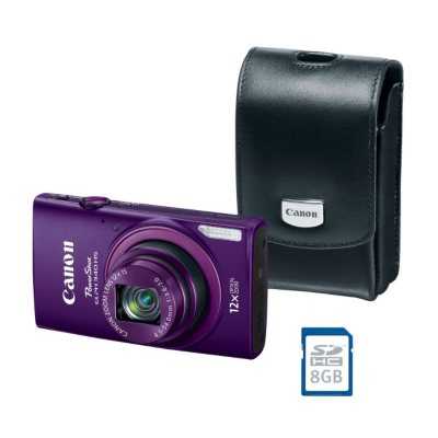 Canon PowerShot ELPH 340 HS Bundle with 16 MP, 12x Optical Zoom, Camera Case, and SD Card, Purple.  Ends: May 28, 2015 11:04:00 PM CDT