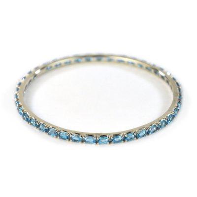 Blue Topaz Bangle Bracelet, 925 Sterling Silver