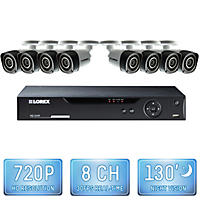 Lorex 8 Channel 720p Security System with 2TB Hard Drive, 8 720p Bullet Cameras, and 130' Night Vision