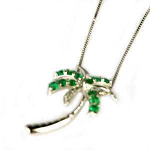 Emerald and Diamond Accent Palm Tree Pendant