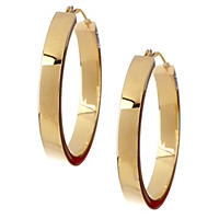 14K Yellow Gold Square Tube Hoops