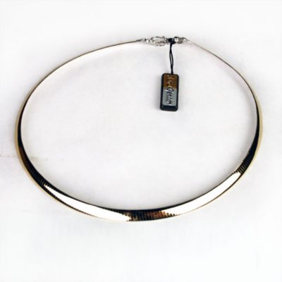 """925 SS + 1/10 14K Yellow Gold Adjustable Necklace 16.5 - 20"""""""