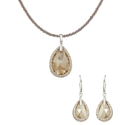 Golden Shadow Swarovski Crystal Teardrop Pendant and Earring Set in Sterling Silver.  Ends: Mar 6, 2015 2:03:00 PM CST